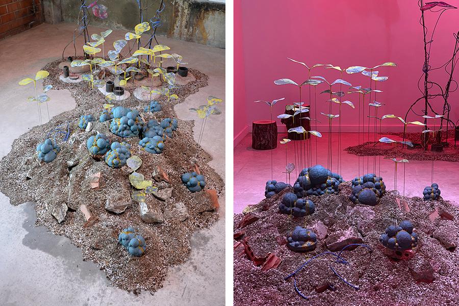 Detail views of sculptural installation by artist Laura Latimer